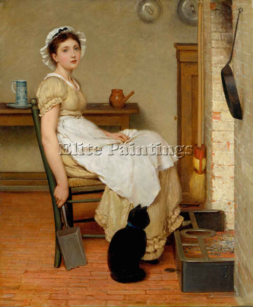 GEORGE DUNLOP LESLIE AT THE HEARTH FSR ARTIST PAINTING REPRODUCTION HANDMADE OIL