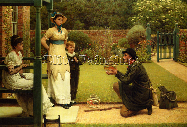 GEORGE DUNLOP LESLIE THE GOLDFISH SELLER ARTIST PAINTING REPRODUCTION HANDMADE
