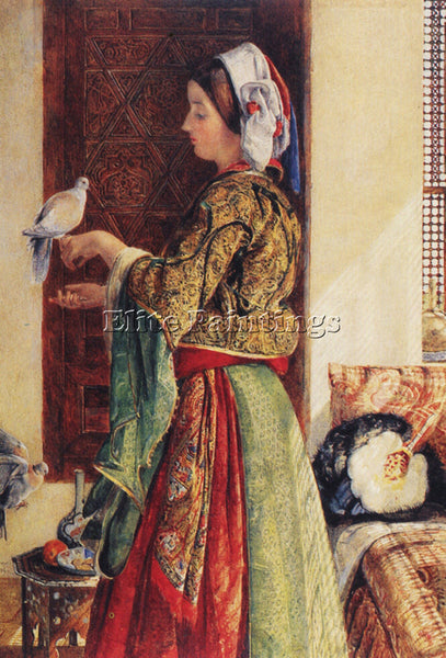JOHN FREDERICK LEWIS GIRL WITH TWO CAGED DOVES ARTIST PAINTING REPRODUCTION OIL