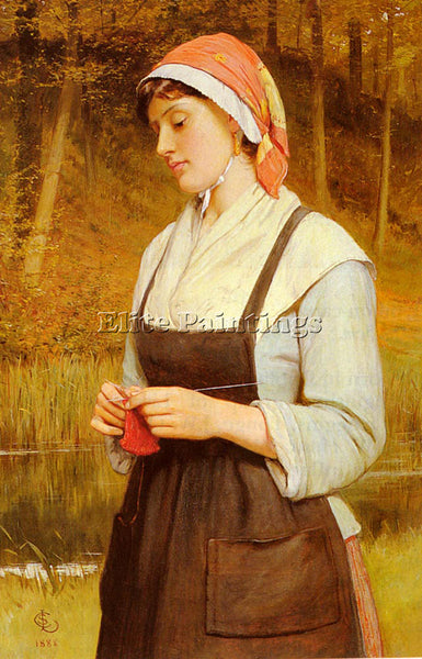 CHARLES SILLEM LIDDERDALE KNITTING ARTIST PAINTING REPRODUCTION HANDMADE OIL ART