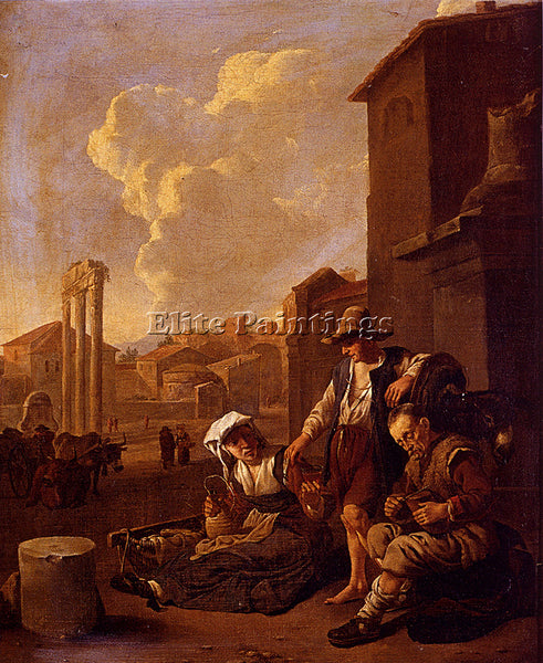 JOHANNES LINGELBACH PEASANT FAMILY HAVING BREAD AND WINE ARTIST PAINTING CANVAS