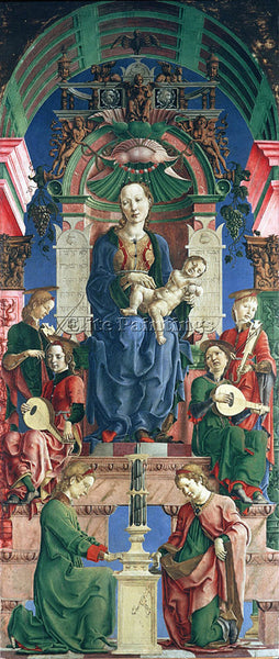 TURA COSME LIPPI FILIPPINO THE VIRGIN AND CHILD ENTHRONED ARTIST PAINTING CANVAS