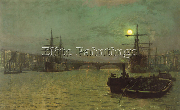 JOHN ATKINSON GRIMSHAW LONDON BRIDGE HALF TIDE ARTIST PAINTING REPRODUCTION OIL