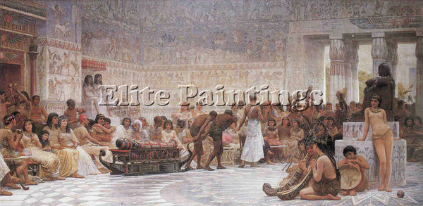 EDWIN LONGSDEN LONG AN EGYPTIAN FEAST ARTIST PAINTING REPRODUCTION HANDMADE OIL