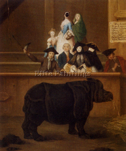 PIETRO LONGHI THE RHINOCEROS ARTIST PAINTING REPRODUCTION HANDMADE CANVAS REPRO