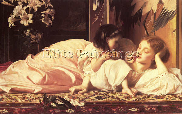 LORD FREDERICK LEIGHTON MOTHER AND CHILD ARTIST PAINTING REPRODUCTION HANDMADE