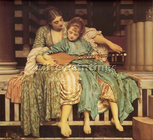 LORD FREDERICK LEIGHTON MUSIC LESSON ARTIST PAINTING REPRODUCTION HANDMADE OIL