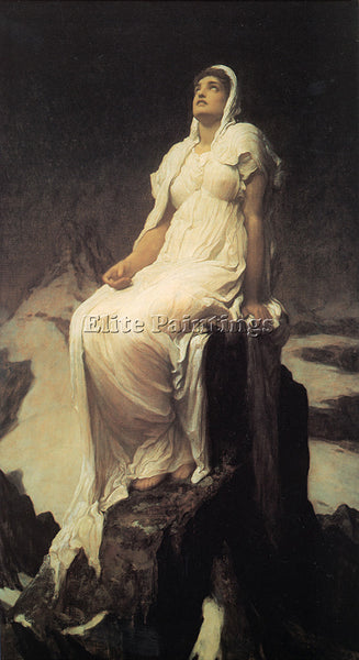 LORD FREDERICK LEIGHTON SPIRIT OF THE SUMMIT ARTIST PAINTING HANDMADE OIL CANVAS