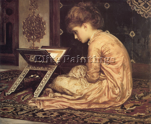 LORD FREDERICK LEIGHTON STUDY AT A READING DESK ARTIST PAINTING REPRODUCTION OIL