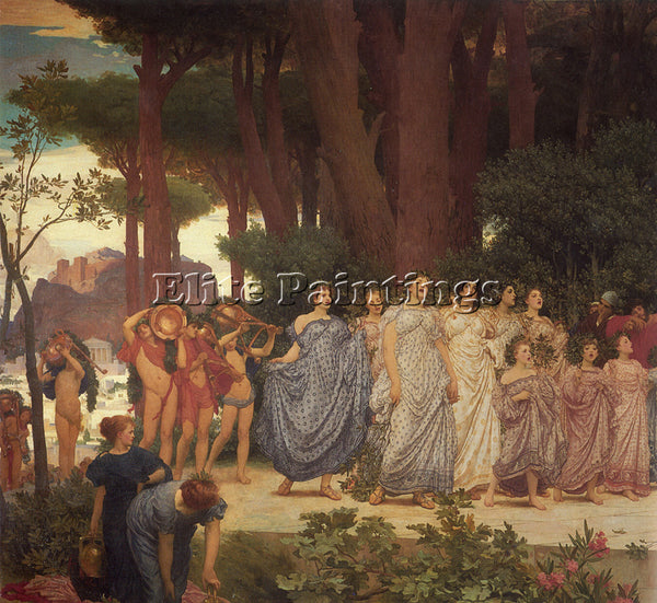 LORD FREDERICK LEIGHTON THE DAPHNEPHORIA LEFT DETAIL ARTIST PAINTING HANDMADE