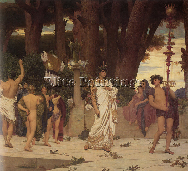 LORD FREDERICK LEIGHTON THE DAPHNEPHORIA RIGHT DETAIL ARTIST PAINTING HANDMADE