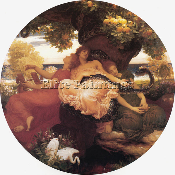 LORD FREDERICK LEIGHTON THE GARDEN OF THE HESPERIDES ARTIST PAINTING HANDMADE