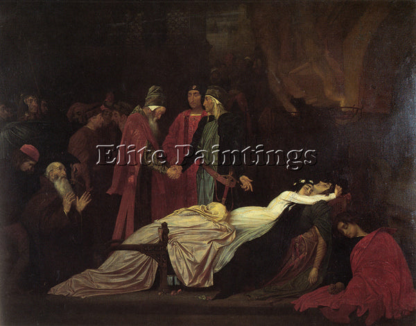 LORD FREDERICK LEIGHTON THE RECONCILIATION MONTAGUES AND THE CAPULETS ARTIST OIL