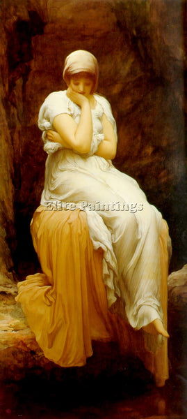 LORD FREDERICK LEIGHTON SEATED BIG ARTIST PAINTING REPRODUCTION HANDMADE OIL ART