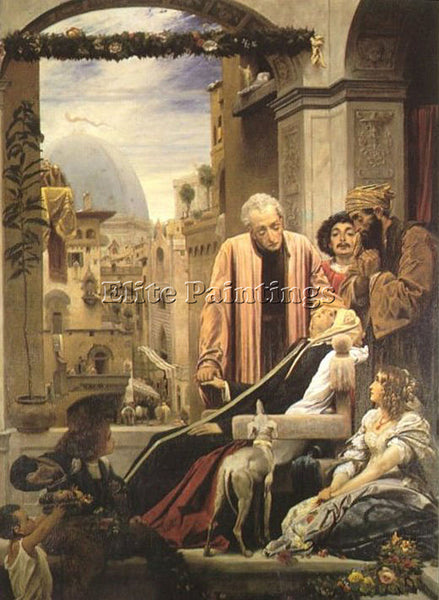 LORD FREDERICK LEIGHTON THE DEATH OF BRUNELLESCHI 1852 ARTIST PAINTING HANDMADE