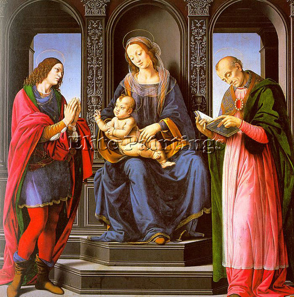 LORENZO DI CREDI VIRGIN AND CHILD WITH ST JULIAN AND ST NICHOLAS MYRA ARTIST OIL