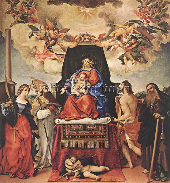 LORENZO LOTTO MADONNA AND CHILD WITH SAINTS 1521 II ARTIST PAINTING REPRODUCTION