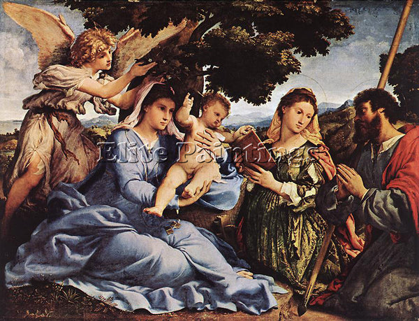 LORENZO LOTTO MADONNA AND CHILD WITH SAINTS AND AN ANGEL 1527 8 ARTIST PAINTING