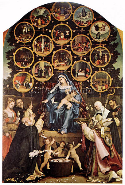 LORENZO LOTTO MADONNA OF THE ROSARY 1539 ARTIST PAINTING REPRODUCTION HANDMADE