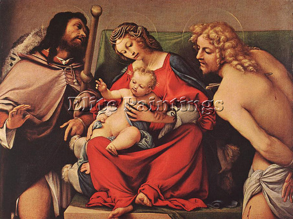 LORENZO LOTTO MADONNA WITH THE CHILD AND STS ROCK AND SEBASTIAN C1522 ARTIST OIL