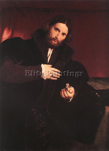 LORENZO LOTTO MAN WITH A GOLDEN PAW C1527 ARTIST PAINTING REPRODUCTION HANDMADE