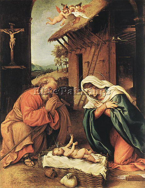 LORENZO LOTTO NATIVITY 1523 ARTIST PAINTING REPRODUCTION HANDMADE OIL CANVAS ART