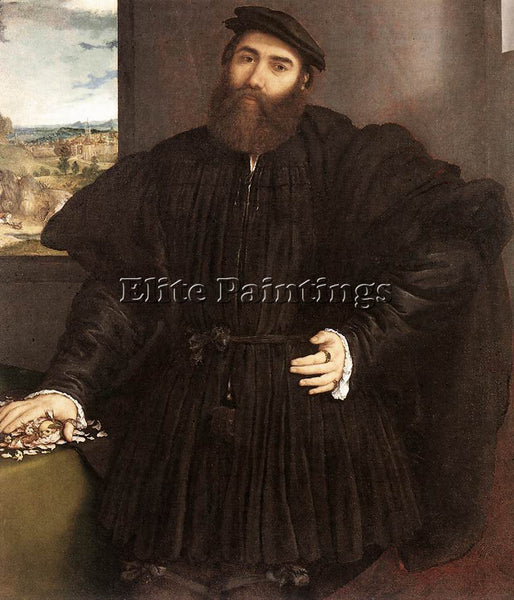 LORENZO LOTTO PORTRAIT OF A GENTLEMAN C1530 ARTIST PAINTING HANDMADE OIL CANVAS