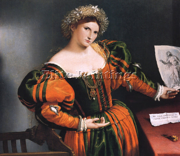 LORENZO LOTTO PORTRAIT OF A LADY WITH A PICTURE SUICIDE OF LUCRETIA PAINTING OIL