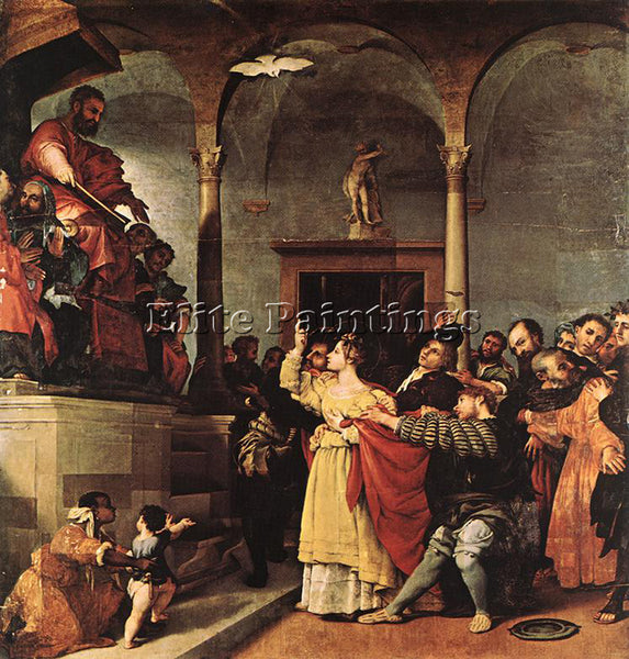 LORENZO LOTTO ST LUCY BEFORE THE JUDGE 1532 ARTIST PAINTING HANDMADE OIL CANVAS