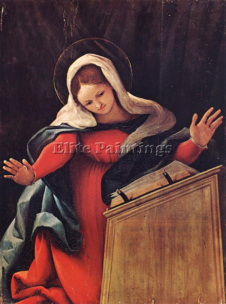LORENZO LOTTO VIRGIN ANNUNCIATED 1527 ARTIST PAINTING REPRODUCTION HANDMADE OIL