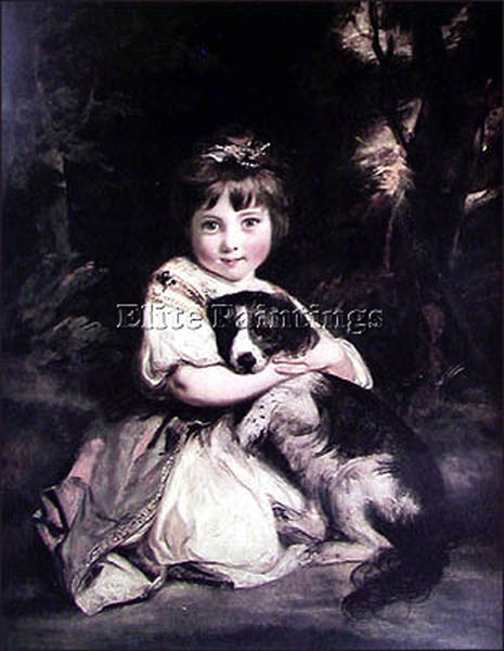 JOSHUA REYNOLDS LOVE ME LOVE MY DOG BGG ARTIST PAINTING REPRODUCTION HANDMADE