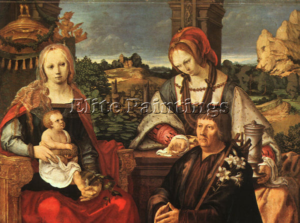 LUCAS VAN LEYDEN MADONNA AND CHILD WITH MARY MAGDALENE AND A DONOR REPRODUCTION
