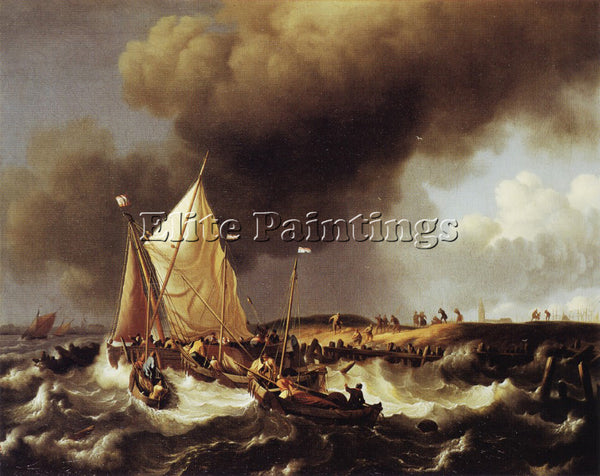 HOLLAND LUDOLF BAKHUIZEN BOATS ARTIST PAINTING REPRODUCTION HANDMADE OIL CANVAS