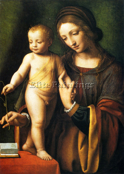 BERNARDINO LUINI THE VIRGIN AND CHILD WITH A COLUMBINE ARTIST PAINTING HANDMADE