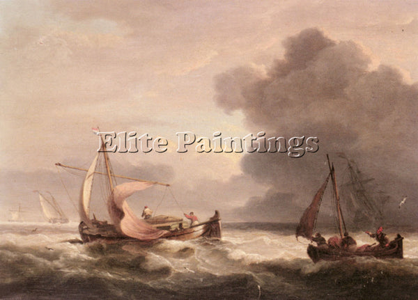 THOMAS LUNY DUTCH BARGES IN OPEN SEAS ARTIST PAINTING REPRODUCTION HANDMADE OIL