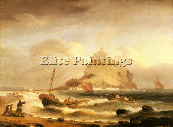 THOMAS LUNY FISHERMEN ROWING IN BEFORE ST MICHAELS MOUNT ARTIST PAINTING CANVAS