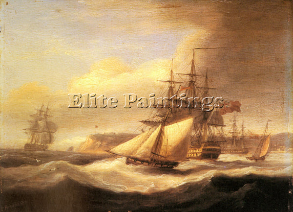 THOMAS LUNY NAVAL SHIPS SETTING SAIL WITH REVENUE CUTTER OFF BERRY HEAD PAINTING