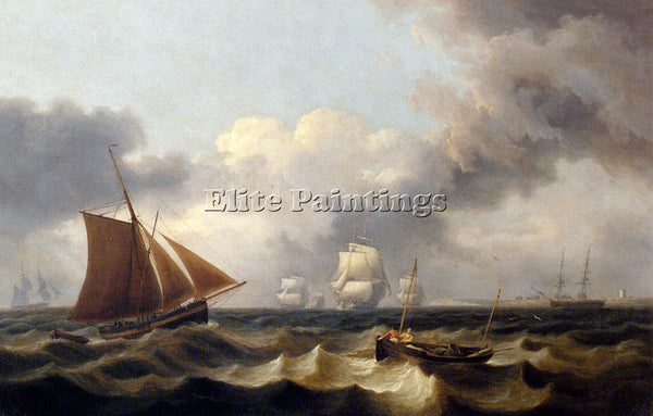 THOMAS LUNY SHIPPING OFF THE COAST ARTIST PAINTING REPRODUCTION HANDMADE OIL ART