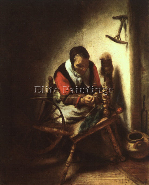 NICOLAES MAES A WOMAN SPINNING ARTIST PAINTING REPRODUCTION HANDMADE OIL CANVAS