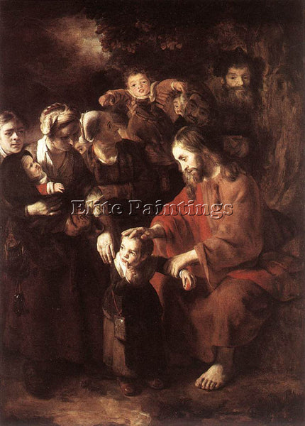 NICOLAES MAES CHRIST BLESSING THE CHILDREN ARTIST PAINTING REPRODUCTION HANDMADE