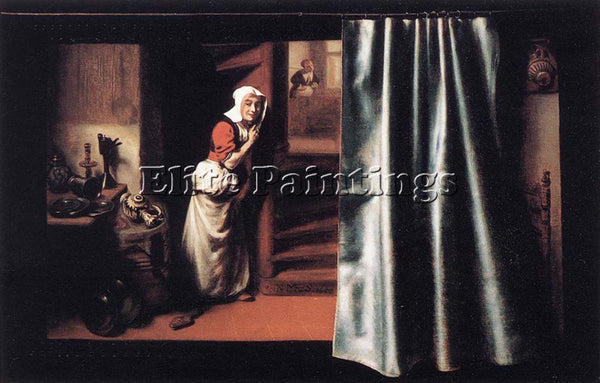 NICOLAES MAES EAVESDROPPER WITH A SCOLDING WOMAN ARTIST PAINTING HANDMADE CANVAS
