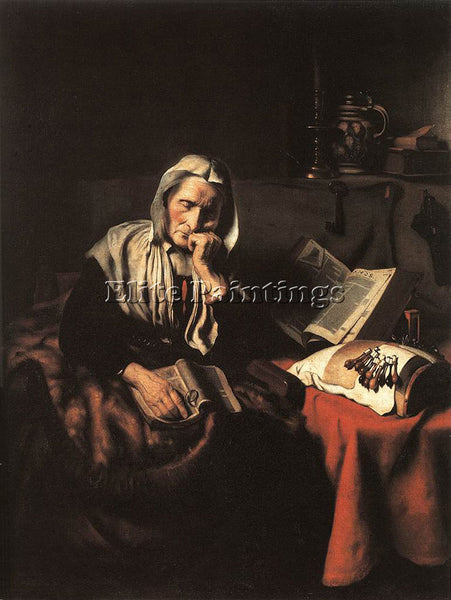 NICOLAES MAES OLD WOMAN DOZING ARTIST PAINTING REPRODUCTION HANDMADE OIL CANVAS