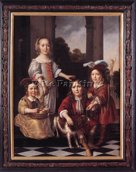 NICOLAES MAES PORTRAIT OF FOUR CHILDREN ARTIST PAINTING REPRODUCTION HANDMADE