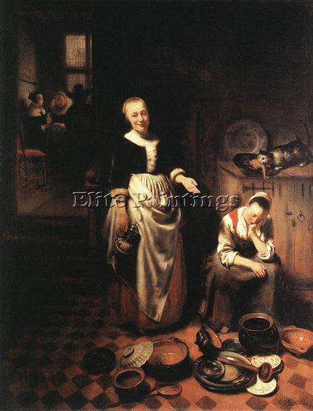 NICOLAES MAES THE IDLE SERVANT ARTIST PAINTING REPRODUCTION HANDMADE OIL CANVAS