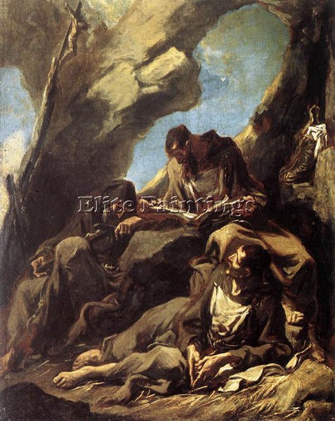ALESSANDRO MAGNASCO THREE CAPUCHIN FRIARS MEDITATING IN THEIR HERMITAGE PAINTING