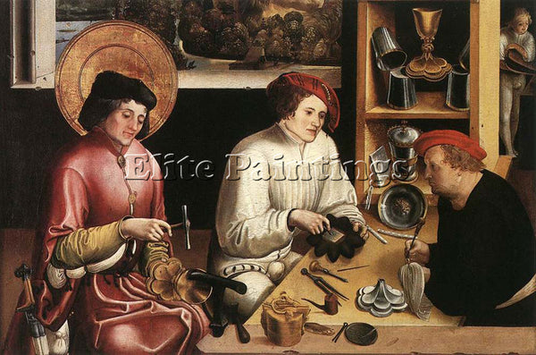 SWISS MANUEL NIKLAUS ST ELIGIUS IN THE WORKSHOP ARTIST PAINTING REPRODUCTION OIL