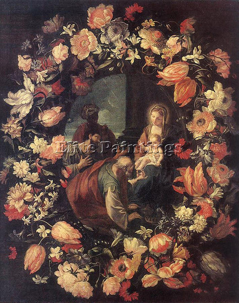 CARLO MARATTI ADORATION OF THE MAGI IN GARLAND ARTIST PAINTING REPRODUCTION OIL