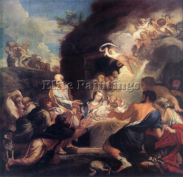 CARLO MARATTI ADORATION OF THE SHEPHERDS ARTIST PAINTING REPRODUCTION HANDMADE