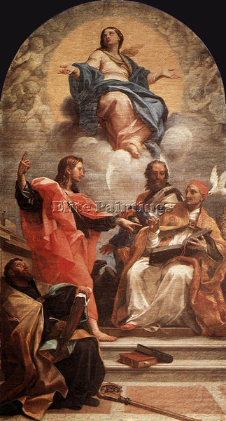 CARLO MARATTI ASSUMPTION AND THE DOCTORS OF THE CHURCH ARTIST PAINTING HANDMADE