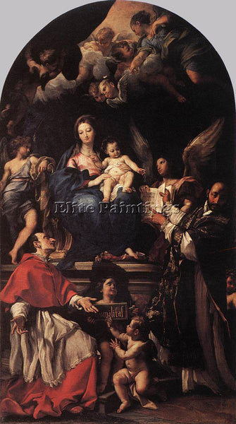 CARLO MARATTI MADONNA AND CHILD ENTHRONED WITH ANGELS AND SAINTS ARTIST PAINTING